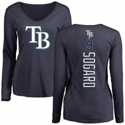 Women's Eric Sogard Tampa Bay Rays Backer Slim Fit Long Sleeve T-Shirt - Navy