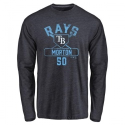 Youth Charlie Morton Tampa Bay Rays Base Runner Tri-Blend Long Sleeve T-Shirt - Navy